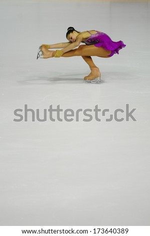 "BELGRADE - JANUARY 25: South Africa's Michaela Du toit performs free skating at Europa Cup figure ice skating competition ""Skate Helena"" in Belgrade, Serbia on January 25, 2014 - stock photo"
