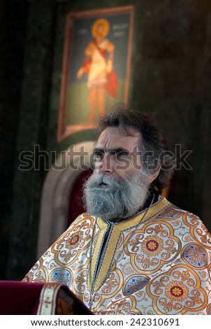 BELGRADE-JANUARY 7.The priest reads the Christmas Messagein the end off Christmas Liturgy in the Temple of Saint Sava in Belgrade.January 7,2015 in Belgrade, Serbia    - stock photo