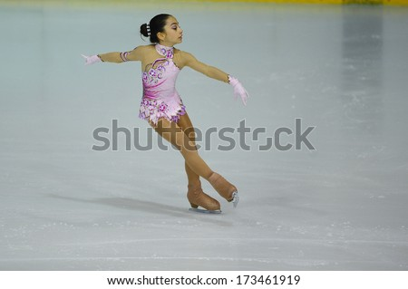 "BELGRADE - JANUARY 23: Turkey's Sila Sagdic performs her free skating program at  Europa Cup figure skating competition ""Skate Helena"" in Belgrade, Serbia on january 23, 2014 - stock photo"
