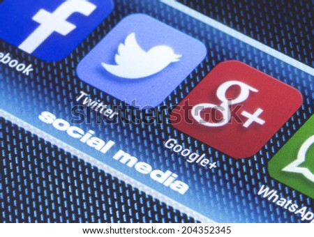 BELGRADE - JULY 11, 2014 Popular social media icons twitter google plus and other on smart phone screen close up - stock photo