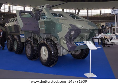 "BELGRADE-JUNE 25:Mine Resistant Ambush Protecte vehicle "" Lazar "" on the ""6th International Defence Exhibition Partner 2013"".On June 25,2013 in Belgrade,Serbia - stock photo"