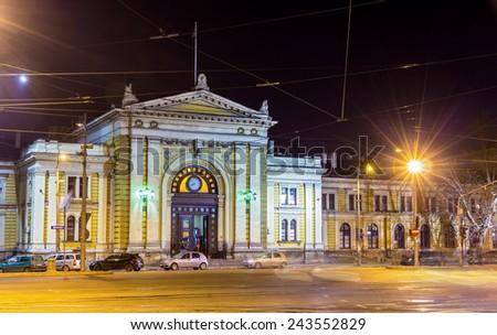 Belgrade Main Railway Station at night - Serbia - stock photo