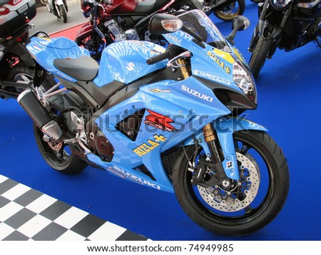"BELGRADE - MARCH 16: A Suzuki GSX R on display at the 4th International Motor Show ""Motopassion"" on March 16, 2009 in Belgrade, Serbia. - stock photo"