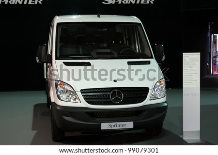 BELGRADE - MARCH 29: An Mercedes Sprinter on display at the 50th International Truck Show on March 29, 2012 in Belgrade, Serbia. - stock photo