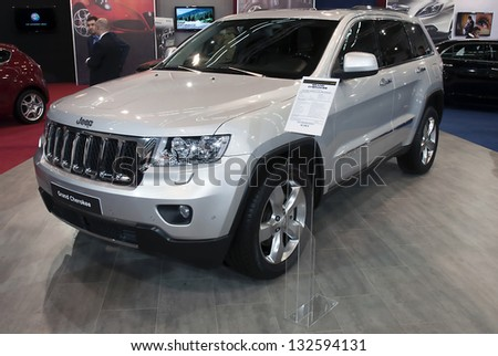 BELGRADE-MARCH 23: Car Jeep Grand Cherokee on the 51th International Belgrade car show.March 23,2013 in Belgrade, Serbia