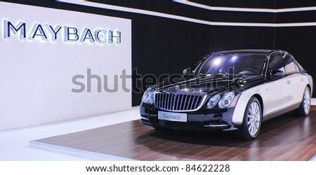 BELGRADE - MARCH 26:  Mercedes Benz Maybach luxury car showcased at the 2011 Belgrade International Auto Show MSA (OICA) on March 26, 2011 in Belgrade,Serbia. - stock photo