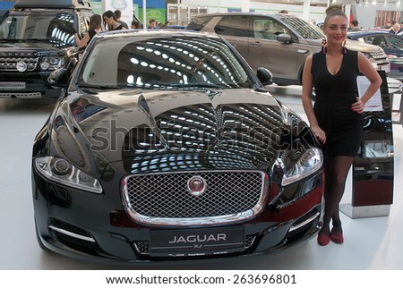 "BELGRADE-MARCH 21:""52th INTERNATIONAL MOTOR SHOW "".Car Jaguar XJ on Belgrade car show.March 21,2015 in Belgrade,Serbia. - stock photo"