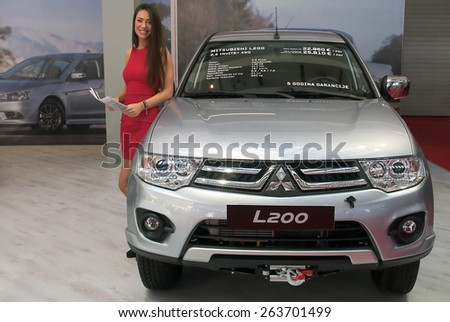 "BELGRADE-MARCH 21:""52th INTERNATIONAL MOTOR SHOW "".Car Mitsubishi L200 on Belgrade car show.March 21,2015 in Belgrade,Serbia. - stock photo"