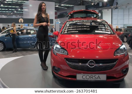 "BELGRADE-MARCH 21:""52th INTERNATIONAL MOTOR SHOW "".Car Opel Corsa Enjoy on Belgrade car show.March 21,2015 in Belgrade,Serbia. - stock photo"