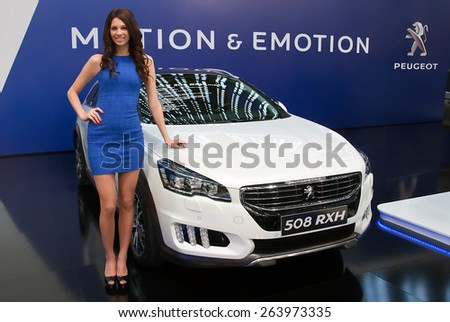 "BELGRADE-MARCH 21:""52th INTERNATIONAL MOTOR SHOW "".Car Peugeot 508 RXH sportback on Belgrade car show.March 21,2015 in Belgrade,Serbia. - stock photo"