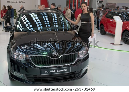 "BELGRADE-MARCH 21:""52th INTERNATIONAL MOTOR SHOW "".Car Skoda FABIA COMBI on Belgrade car show.March 21,2015 in Belgrade,Serbia. - stock photo"