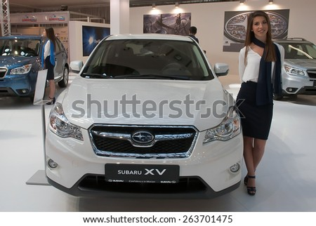 "BELGRADE-MARCH 21:""52th INTERNATIONAL MOTOR SHOW "".Car Subaru XV on Belgrade car show.March 21,2015 in Belgrade,Serbia. - stock photo"