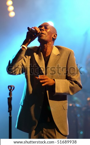 "BELGRADE - MAY 30: Maxi Jazz from Faithless band sings during ""Vibe festival""  May 30, 2005 in Belgrade, Serbia. - stock photo"