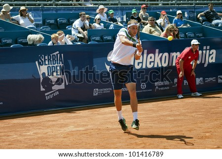 "BELGRADE-MAY 1:""Serbia Open 2012"".1st Round:Gilles Muller (LUX) vs Lukas Lacko (SVK) ,Player Gilles Muller return a ball.Gilles Muller won 2:1.On May 1, 2012 in Belgrade, Serbia"