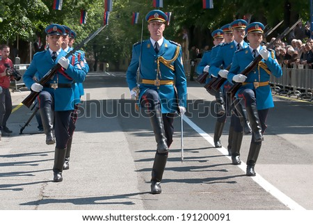 BELGRADE - May 6:Serbian army guards unit march on Celebration of the Serbian Army Guard,MAY 6,2014 in BELGRADE, SERBIA - stock photo