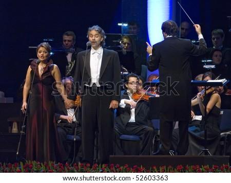 BELGRADE - NOVEMBER 15: Andrea Bocelli sings on his concert in Belgrade Arena November 15, 2005 in Belgrade, Serbia. - stock photo