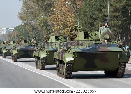 BELGRADE-OCTOBER12:M80 Infantry Combat Vehicle.On preparations for the parade Serbian Army.On October 12,2014 in Belgrade,Serbia  - stock photo