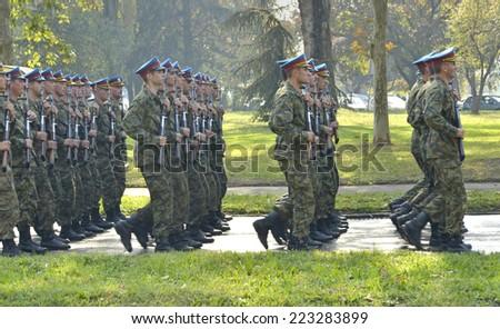 BELGRADE - OCTOBER 13 : Rehearsal of Military Parade commemorating the 70th anniversary of the liberation of Belgrade, 2014 on Nikola Tesla Boulevard in Belgrade, Serbia  - stock photo