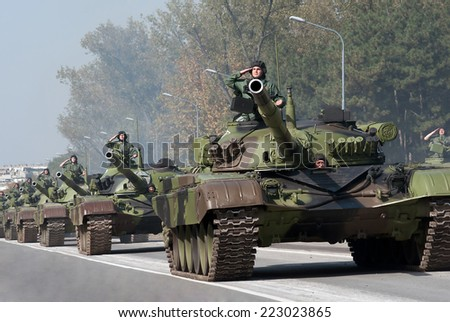BELGRADE-OCTOBER12: Tank - M 84AB1 .On preparations for the parade Serbian Army.On October 12,2014 in Belgrade,Serbia  - stock photo