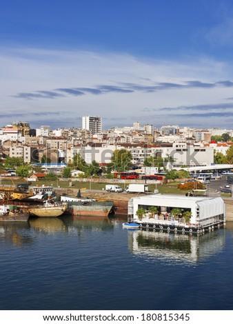 Belgrade, panorama view from river Sava , bridge, Serbia - stock photo