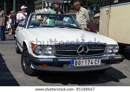 BELGRADE - SEPTEMBER 3: A Mercedes 560 SL at the Oldtimer's Motor Show September 3, 2011 in Belgrade, Serbia. - stock photo