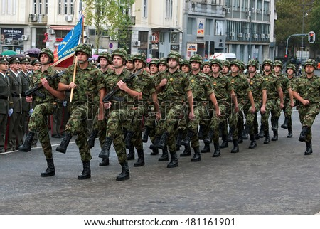 BELGRADE - SEPTEMBER 10:Promotion of new Serbian army officers,Serbian national flag unit in march ,SEPTEMBER 10,2016 in BELGRADE, SERBIA