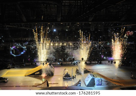 BELGRADE, SERBIA - APRIL 6, 2013: Masters of dirt at Kombank arena, most thrilling and spectacular freestyle motocross show in Kombank Arena - stock photo
