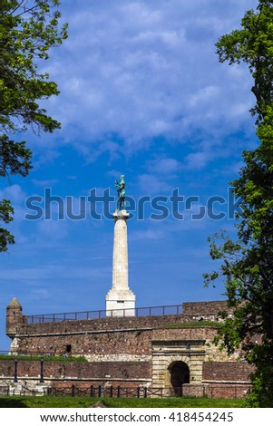 Belgrade, Serbia - April 18, 2016: Monument sculpture of the Belgrade Victor made of bronze, located in Kalemegdan park facing the Sava River and Zemun district, Belgrade, Serbia.