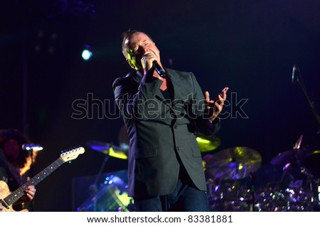 BELGRADE, SERBIA-AUGUST 18: Jim Kerr,  the core of the band Simple Minds, performs at the Belgrade Beer Fest on August 18, 2011 in Belgrade, Serbia. - stock photo