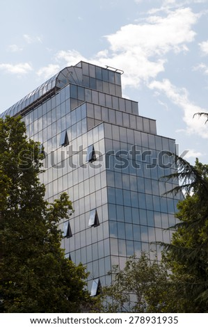 BELGRADE, SERBIA, August 4, 2014: Modern building National Bank of Serbia. Tourist attraction in the city. - stock photo
