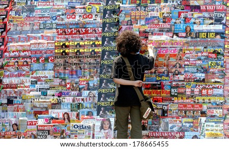 BELGRADE, SERBIA - CIRCA JULY 2005: Newspapers and magazines on display,  in Belgrade - stock photo