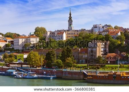 Belgrade Serbia cityscape - architecture travel background - stock photo