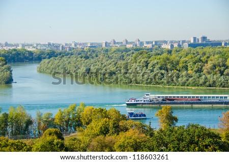 Belgrade, Serbia - confluence of the Danube and Sava rivers - stock photo