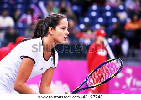 BELGRADE, SERBIA - FEBRUARY 6: Ana Ivanovic in action during Fed Cup tennis match Serbia vs Russia  February 6, 2010 in Belgrade, Serbia. - stock photo
