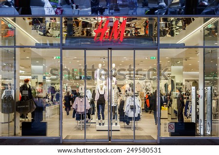 Belgrade, Serbia - February 3, 2015: HM fashion store in Knez Mihailova street in Belgrade, Serbia. H&M is a Swedish company. - stock photo