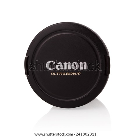 BELGRADE, SERBIA - JANUARY 5, 2015: Cap of Canon Ultrasonic lens. Canon is a Japanese company that makes imaging and optical products.