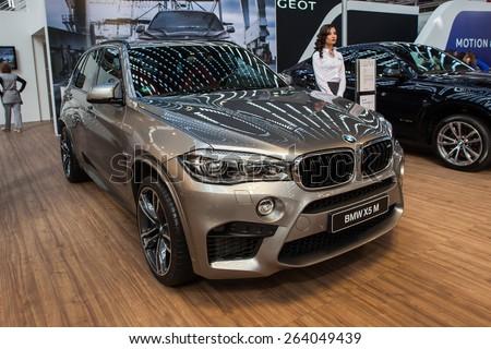Belgrade, Serbia - March 19, 2015: BMW X5 M presented at Belgrade 52nd International Motor Show - MSA (OICA), press day.  - stock photo