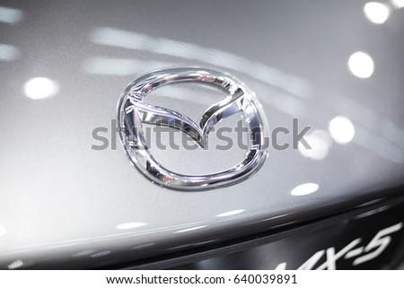 BELGRADE, SERBIA - MARCH 28, 2017: Detail of the Mazda car. Mazda was founded in 1920 in Hiroshima by Jujiro Matsuda