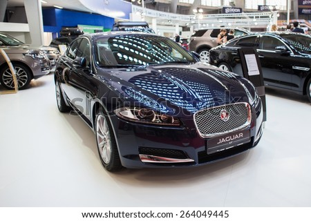 Belgrade, Serbia - March 19, 2015: Jaguar XF presented at Belgrade 52nd International Motor Show - MSA (OICA), press day.  - stock photo