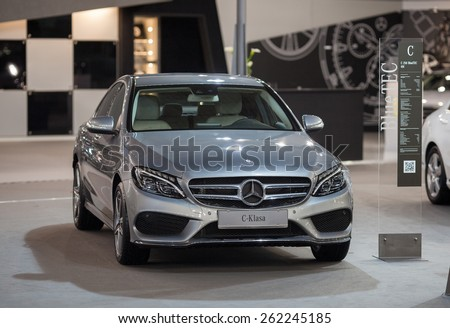 Belgrade, Serbia - March 19, 2015: MERCEDES C 250 BlueTEC 4M presented at Belgrade 52nd International Motor Show - MSA (OICA), press day.