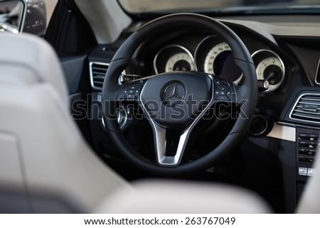 Belgrade, Serbia - March 25, 2015: Mercedes E220 BlueTEC interiors presented at Belgrade 52nd International Motor Show - MSA (OICA). - stock photo