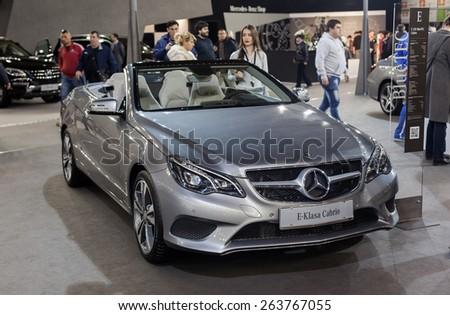 Belgrade, Serbia - March 25, 2015: Mercedes E220 BlueTEC presented at Belgrade 52nd International Motor Show - MSA (OICA). - stock photo