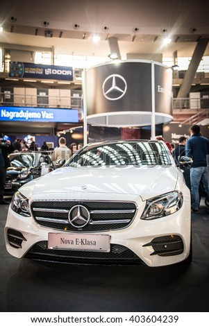 Belgrade, Serbia - March 17, 2016: Mercedes presented at Belgrade DDOR BG CARSHOW 05 & MOTOPASSION. - stock photo