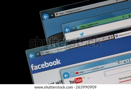 BELGRADE, SERBIA - MARCH 25 2015, social media web sites on a computer screen, Facebook, Twitter, Youtube and Instagram. Social media sites are the most visited web sites in the world - stock photo