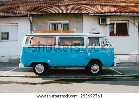 BELGRADE, SERBIA - MART 29: German VW Camper van on parking place visiting Belgrade - stock photo