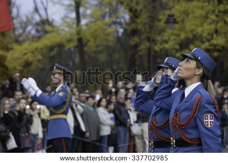 Belgrade, Serbia - November 11, 2015: Armistice Day in World War I, honorary Guards units Army of Serbia made honorary artillery fire from the Belgrade fortress for all innocent victims.
