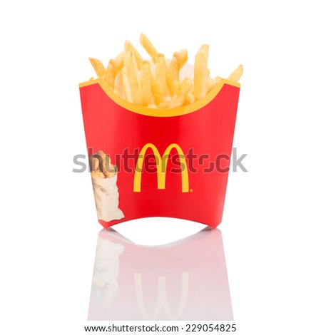 BELGRADE, SERBIA - NOVEMBER 5, 2014: McDonald's French fries box on a white background. - stock photo