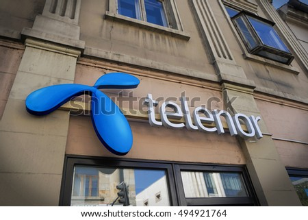 Belgrade, Serbia - October 6, 2016: Telenor is a Norwegian multinational company. It is one of the world's largest mobile telecommunications companies with operations in Scandinavia, Europe and Asia