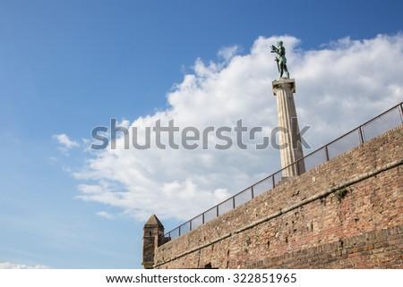 Belgrade - Serbia - Pobednik (The Victor) monument in the Kalemegdan fortress - stock photo