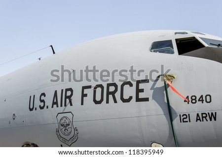 BELGRADE, SERBIA - SEPTEMBER 2: Aircraft Boeing KC-135R Stratotanker 121 on the Airshow Batajnica 2012 in Belgrade, Serbia on September 2, 2012. - stock photo